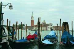 Gondolas in Venice; Actual size=240 pixels wide